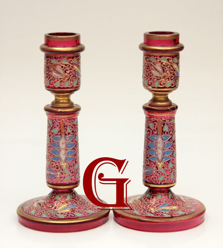 CRANBERRY GLASS CANDLESTICKS BY MOSER