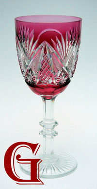 cranberry cut glass goblet