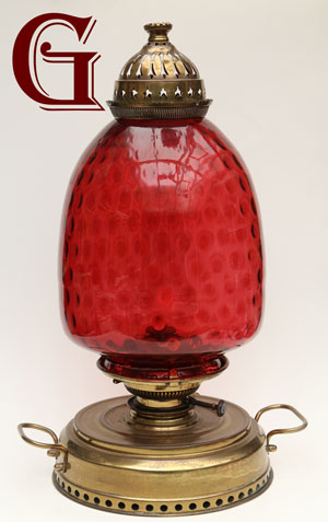 CRANBERRY GLASS LAMP