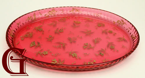 CRANBERRY GLASS TRAY