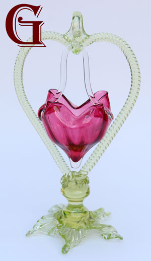 CRANBERRY GLASS BRIDES BASKET CITRINE HOLDER