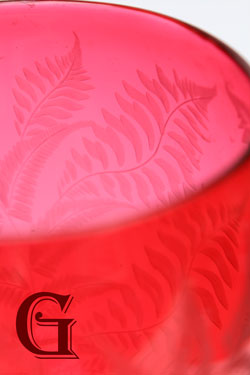 CRANBERRY GLASS etched goblet