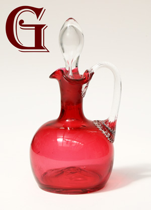 CRANBERRY GLASS vinegar bottle
