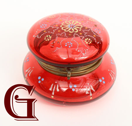 CRANBERRY GLASS lidded pot