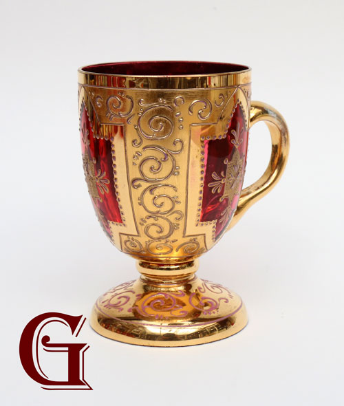 CRANBERRY GLASS enamel mug