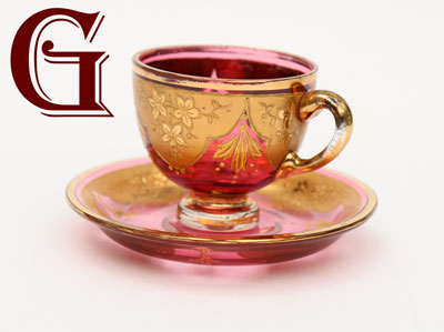 CRANBERRY GLASS patch pot enamel decoration