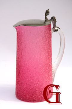 Cranberry glass crackle jug
