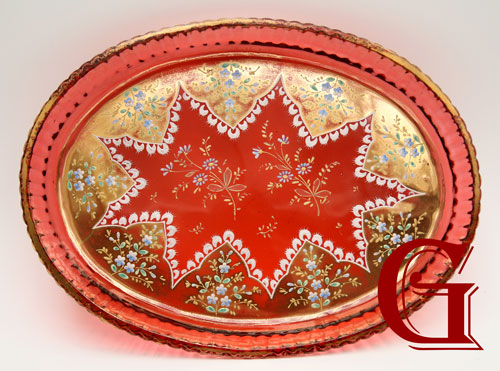 CRANBERRY GLASS TRAY MOSER
