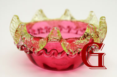 cranberry glass preserve dish