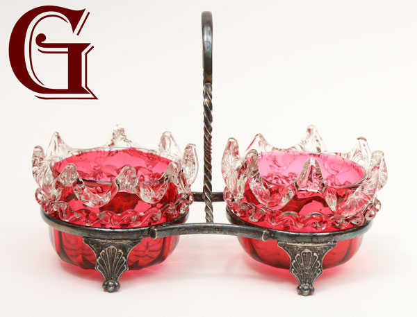 Cranberry glass preserve dishes silver plate stand