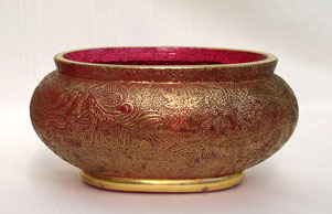 gilded cranberry glass bowl