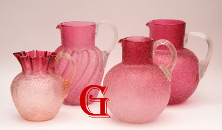 Cranberry Crackle glass jugs