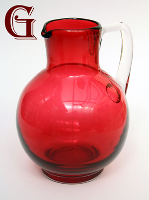 Cranberry glass jug