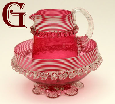 Cranberry glass jug and bowl