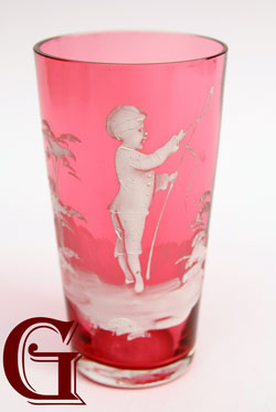 cranberry glass Mary Gregory champagne tumbler