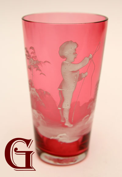 cranberry  Mary Gregory tumbler