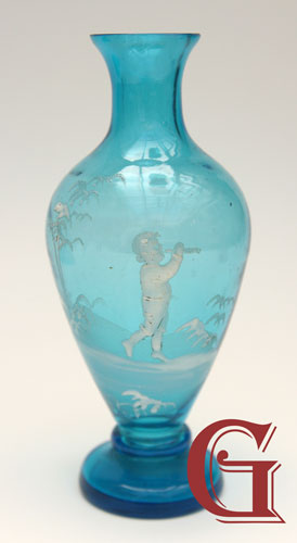 AQUA BLUE GLASS SMALL MARY GREGORY VASE