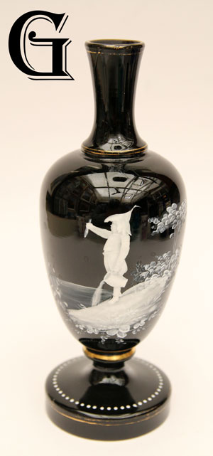 black glass Mary Gregory vase
