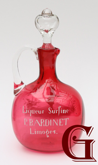 cranberry glass Mary Gregory decanter