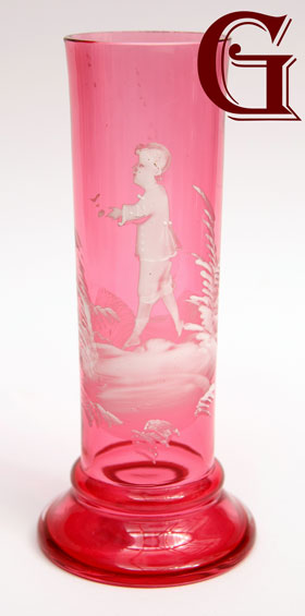 cranberry glass Mary Gregory vase