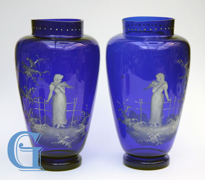 pair Mary Gregory cobalt blue glass vases