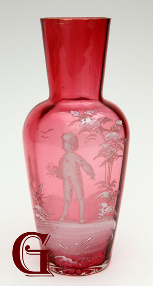CRANBERRY GLASS VASE WITH MARY GREGORY DECORATION