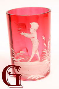 cranberry glass Mary Gregory mug