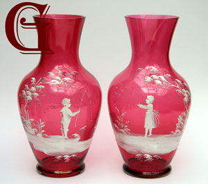 pair Mary Gregory cranberry glass vases