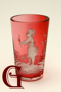 Mary Gregory cranberry glass tot