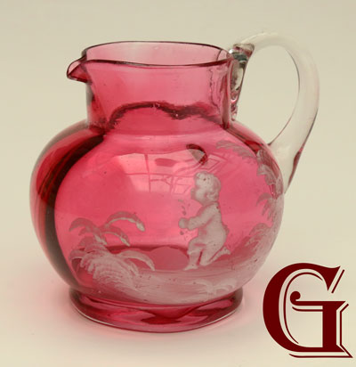 cranberry glass Mary Gregory cream jug