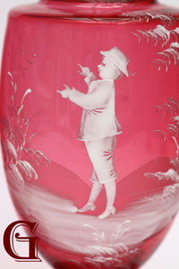 cranberry glass Mary Gregory vase detail