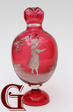 cranberry glass Mary Gregory ewer