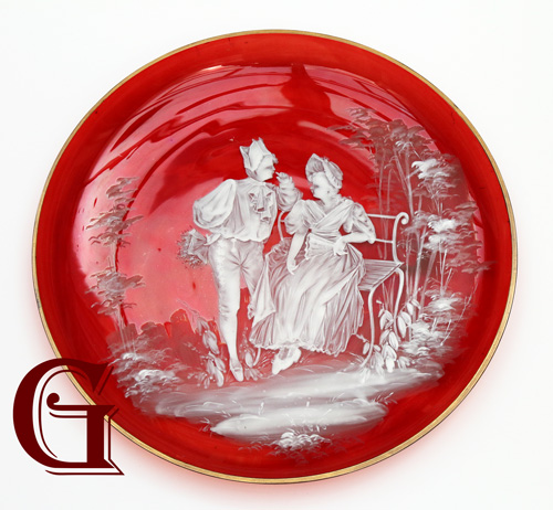 cranberry glass Mary Gregory plate