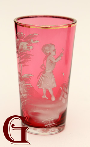 cranberry glass Mary Gregory juice glass