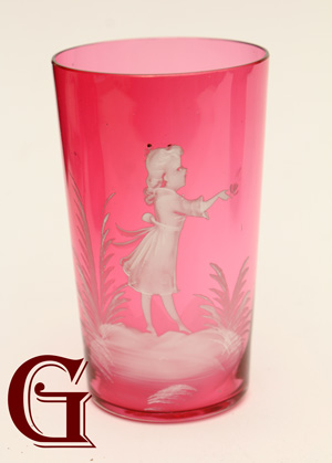cranberry glass Mary Gregory tumbler