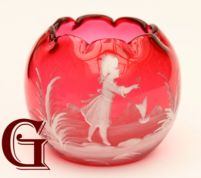 cranberry glass Mary Gregory posy vase