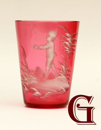 cranberry glass Mary Gregory glass