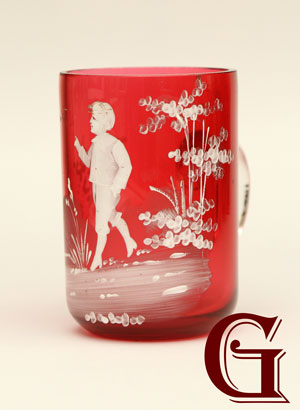 cranberry glass Mary Gregory miniature mug