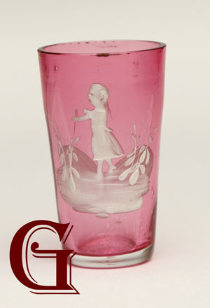 cranberry glass Mary Gregory tot