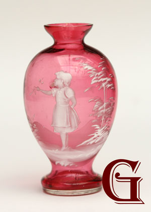 miniature cranberry glass Mary Gregory vase