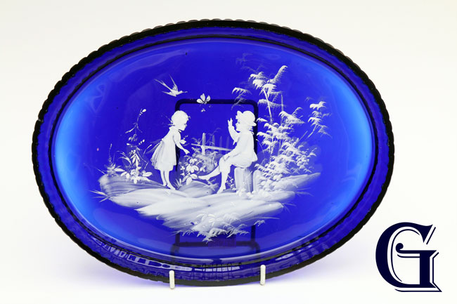 cobalt blue glass Mary Gregory tray