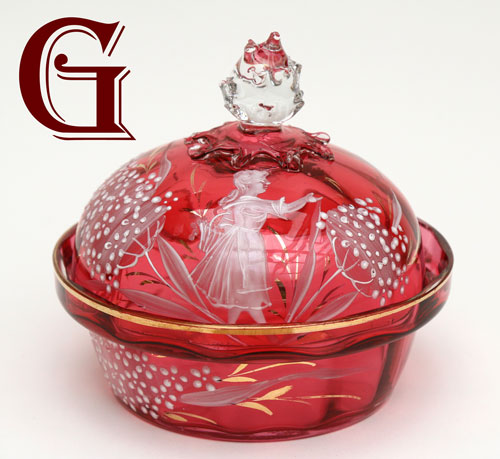 cranberry glass Mary Gregory powder bowl