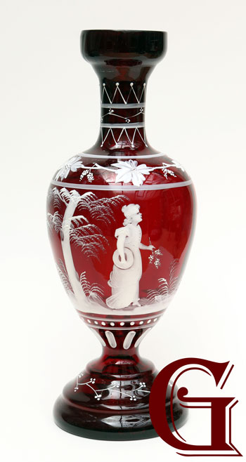 ruby glass Mary Gregory vase