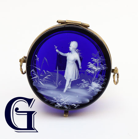 cobalt blue glass Mary Gregory lidded box