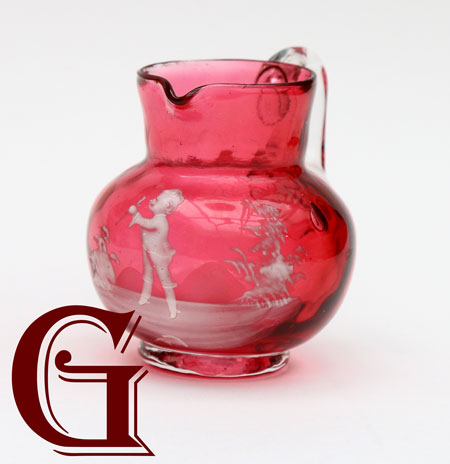 cranberry glass Mary Gregory MINIATURE JUG