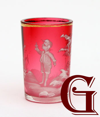 cranberry glass tot with Mary Gregory decoration