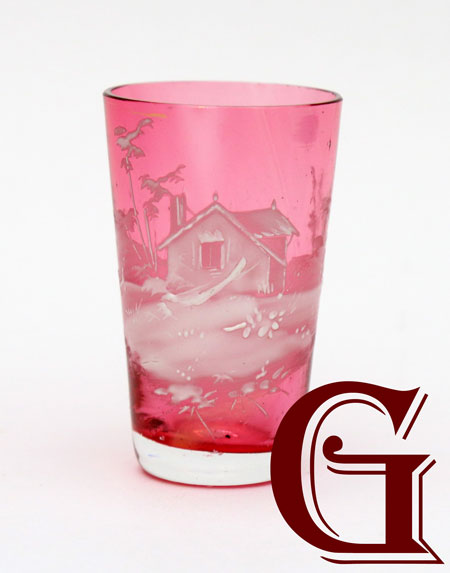 cranberry glass Mary Gregory tot house decoration