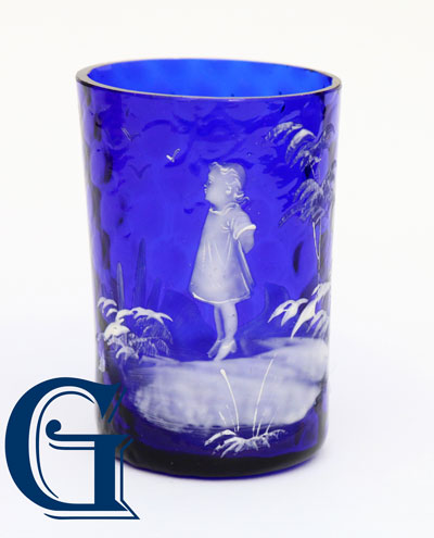 cobalt blue glass Mary Gregory drinking glass