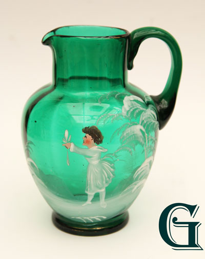 green glass Mary Gregory jug