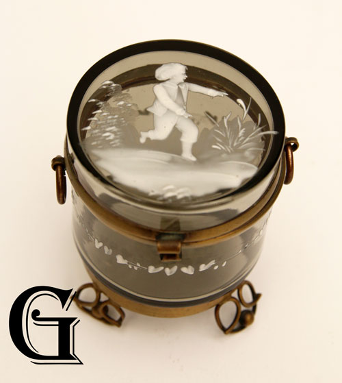 black glass Mary Gregory lidded box